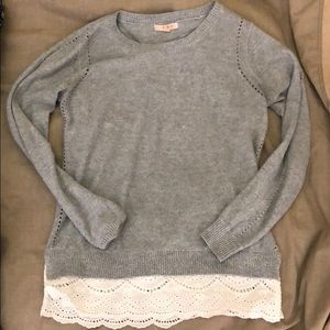 Grey Sweater with Faux Lace Detailing